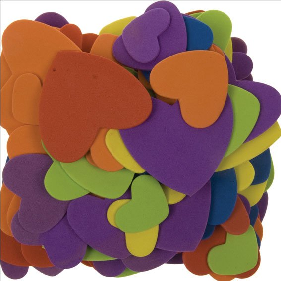 Foam hearts assorted colors & sizes | 120 pieces