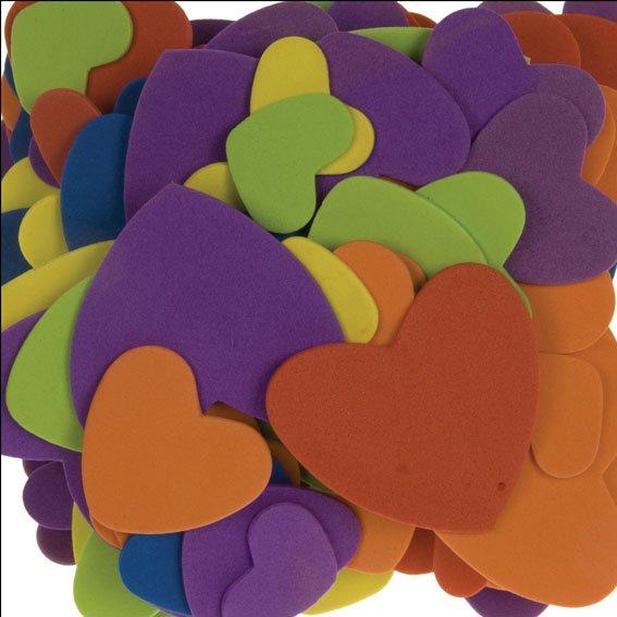 Foam hearts assorted colors & sizes | 120 pieces | self-adhesive