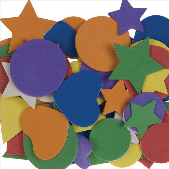 Moosgummi-Formen | 60 Stück | Farben und Größen sortiert | selbstklebend