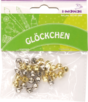 Craft bells with eyelet gold/silver assorted | 30 pieces | size: 8 mm