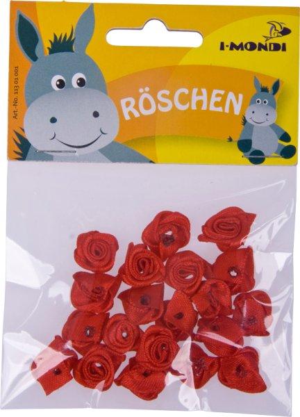 Röschen aus Stoff | Farbe: rot | 20 Stück | Größe: 15x5 mm