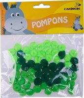 Acrylic Pompons green gradient assorted | 60 pieces |...