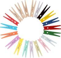 Bastelklammern aus Holz in verschiedenen Farben 48...