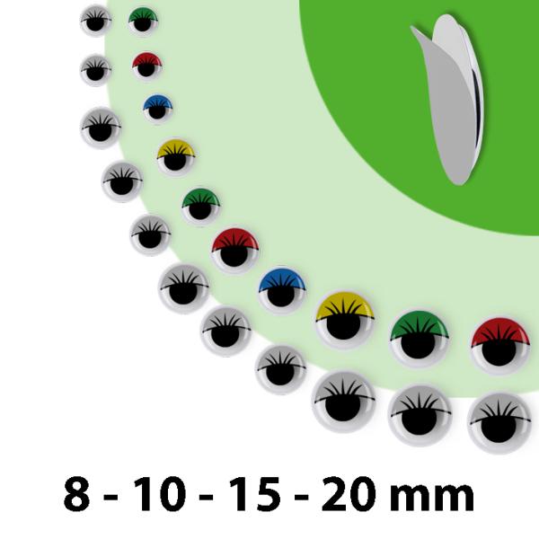 Wackelaugen mit Lid | 75 Stück | Größen: 8mm 10mm 15mm 20mm | selbstklebend