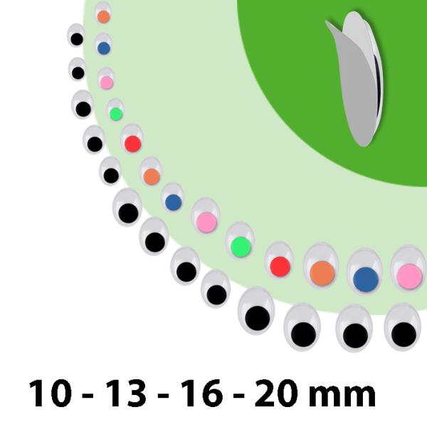 Wackelaugen oval | 75 Stück | Größen: 8x10mm 10x13mm 12x16mm 15x20mm | selbstklebend