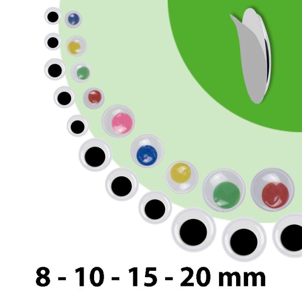Wackelaugen | 75 Stück | Größen: 8mm 10mm 15mm 20mm | selbstklebend