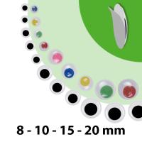 Wackelaugen | 75 Stück | Größen: 8mm 10mm...