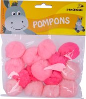 Pompons | pink gradient | 15 pieces | size: 35 mm