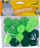 Acrylic Pompons green gradient assorted | 15 pieces |...