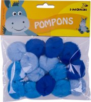 Acrylic Pompons blue gradient assorted | 15 pieces |...