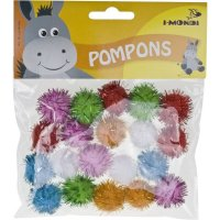 Pompons glitter bunt sortiert | 20 Stück | Größe: 25 mm