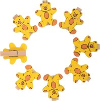 Mini wooden craft clips with bear | 8 pieces | Size: 35 x...