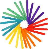 Wooden craft sticks colors assorted | 50 pieces | size:...