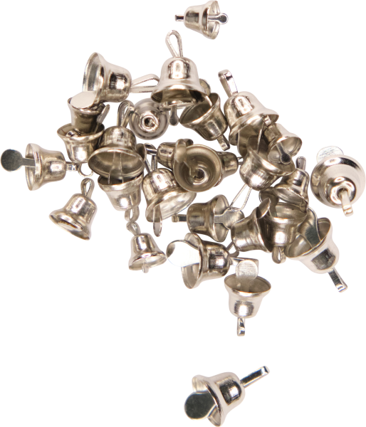 Craft bells sizes assorted | color: silver | 30 pieces | sizes: 6, 8, 10 mm