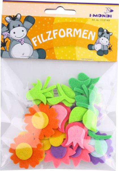 Filz-Puzzle  | Form: Blume | 6 Stück | Größe: ca. 55 mm | selbstklebend