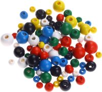 Wooden beads assorted colors & sizes | shape: round | 90...