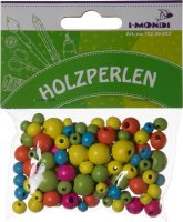 Wooden beads assorted neon colors & sizes | shape:...