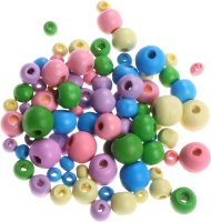 Wooden beads assorted pastel colors & sizes | shape:...
