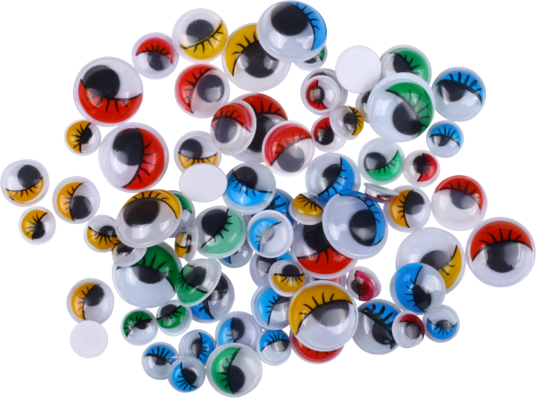 Wiggle eyes with eyelash colors assorted   75 pieces   sizes: 8, 10, 15, 20 mm   self-adhesive