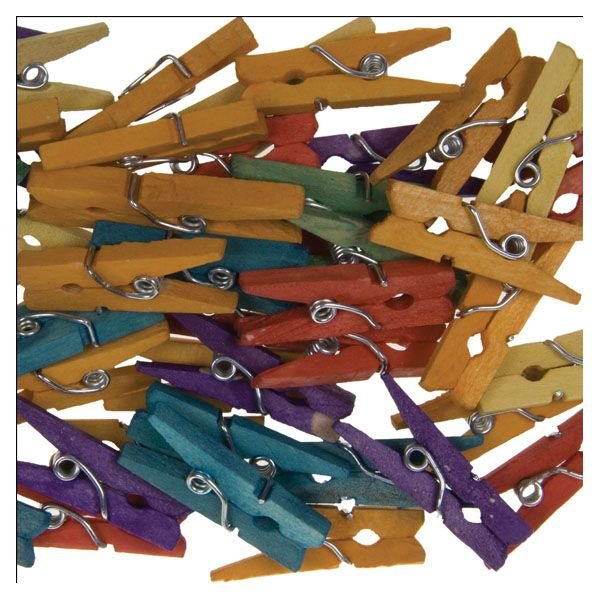 Mini-wooden craft clips colors assorted | 100 pieces | size: 25x3 mm