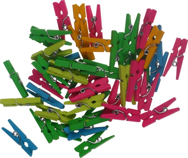 Mini-wooden craft clips assorted neon colors   45 pieces   size: 25x3 mm