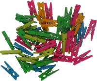 Mini-wooden craft clips assorted neon colors | 45 pieces...