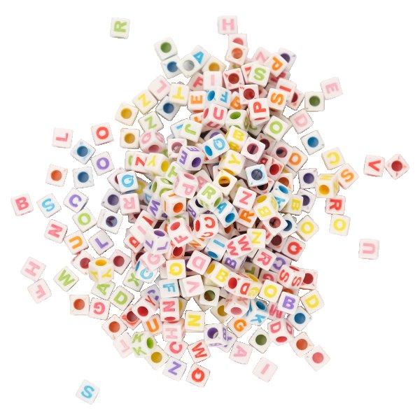 ABC-Bastelperlen aus Kunststoff bunt sortiert | Form: Würfel | 300 Stück | 6x6 mm