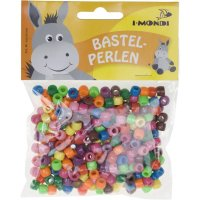 Plastic beads colors assorted | 150 pieces | size: 8 mm |...