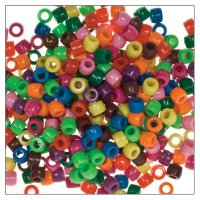 Bastelperlen aus Kunststoff bunt sortiert | 150 Stück ca. 40 g | Größe: 8 mm