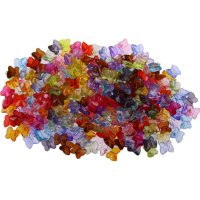 Plastic beads colors assorted | shape: butterfly | ~ 235...