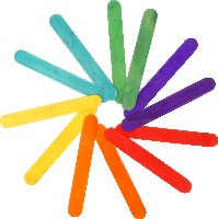 Wooden craft sticks colors assorted | 80 pieces | size:...