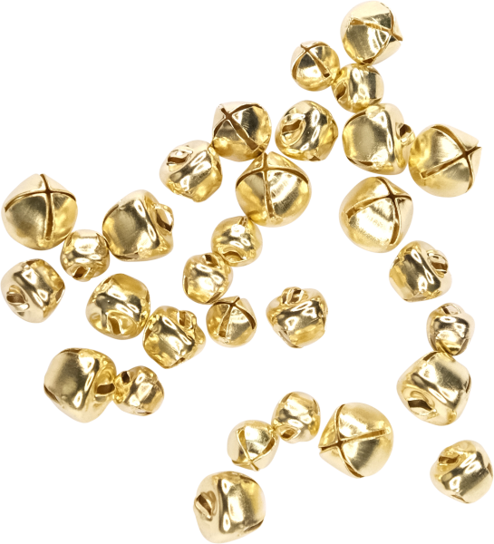 Craft bells with eyelet sizes assorted | color: gold | 30 pieces | sizes: 8, 10, 12 mm