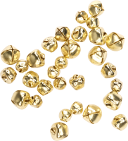 Craft bells with eyelet sizes assorted | color: gold | 30...