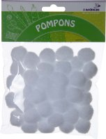 Pompons | color: white | 50 pieces | size: 25 mm