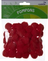Pompons | color: red | 50 pieces | size: 25 mm
