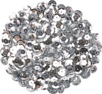 Sequins, color: silver, shape: round, size: 9 mm,...