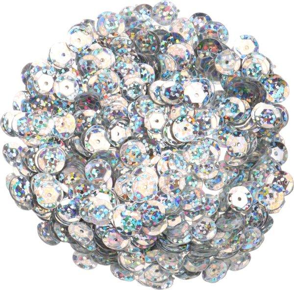 Pailletten | Farbe: silber-irisierend | Form: rund | Größe: 9 mm | Inhalt: 15 g. (ca. 720 Stück)