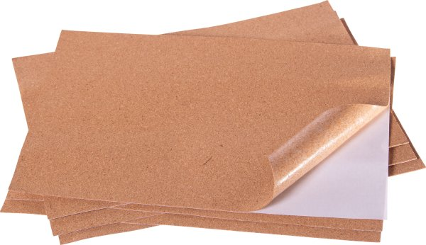 Cork sheet | 6 pieces | thickness: 1 mm | size: 21 × 29 cm | self-adhesive