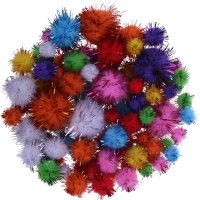 Glitter Pompons colors assorted | 110 pieces | sizes: 10,...