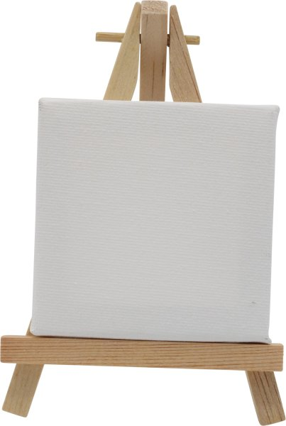 Mini-Staffelei Tischstaffelei Aufsteller 6.5 x 11.5cm   mit Keilrahmen 7x9cm