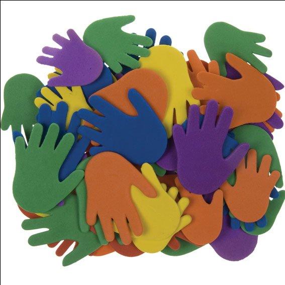 Moosgummi-Hände | 60 Stück | Größen und Farben sortiert | selbstklebend