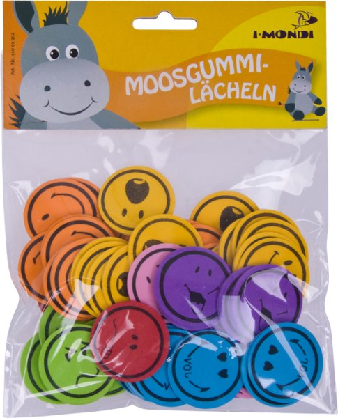 Foam smile shapes assorted designs & colors | 60 pieces | Ø: 35 mm | self-adhesive